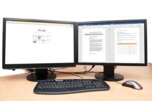 Wie Ihr PC-Monitor Ihnen 30 Minuten Zeit pro Tag sparen kann - Zwei Monitore am Arbeitsplatz